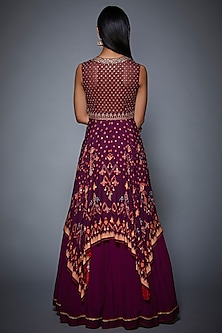 Purple Embroidered Asymmetric Dress by Ritu Kumar