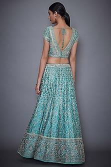 Turquoise Embroidered Lehenga Set by Ri Ritu Kumar