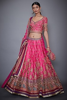 Fuschia & Purple Embroidered Lehenga Set by Ri Ritu Kumar
