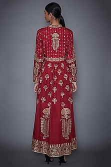 Burgundy Embroidered Jacket With Full Sleeves by Ri Ritu Kumar