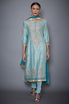 Aqua Blue Embroidered Kurta Set by Ri Ritu Kumar