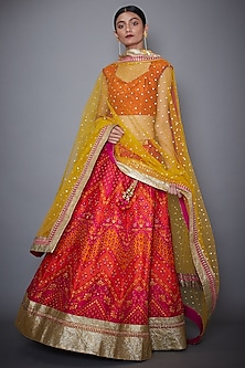Fuchsia & Orange Lehenga Set by Ri Ritu Kumar