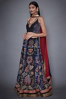 Black & Indigo Embroidered Lehenga Set by Ri Ritu Kumar