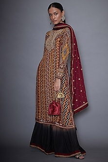 Brown & Black Embroidered Kurta Set by Ri Ritu Kumar