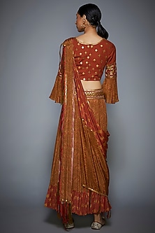 Rust & Olive Green Embroidered Skirt Set by Ri Ritu Kumar