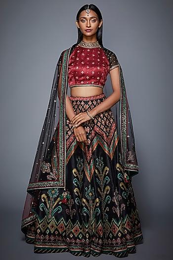 Black & Burgundy Embroidered Lehenga Set by Ri Ritu Kumar