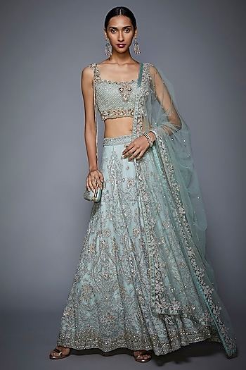 Powder Blue Embroidered Lehenga Set by Ri Ritu Kumar