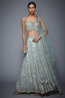 Powder Blue Embroidered Lehenga Set by Ri Ritu Kumar
