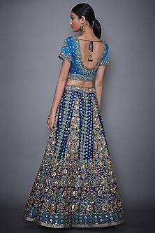 Royal Blue & Turquoise Floral Embroidered Lehenga Set by Ri Ritu Kumar