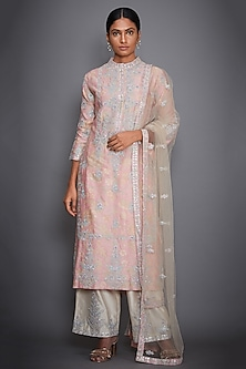 Baby Pink Embroidered Kurta Set by Ri Ritu Kumar