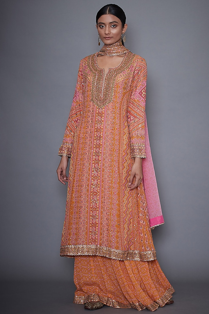 Pink & Yellow Embroidered Kurta Set by Ri Ritu Kumar