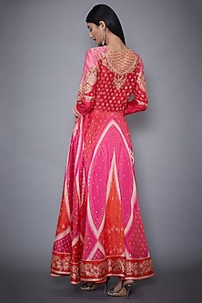 Fuschia & Orange Embroidered Kurta Set by Ri Ritu Kumar