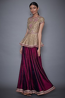 Gold Embroidered Peplum Top With Purple Skirt by Ri Ritu Kumar