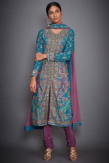 Turquoise & Mauve Embroidered Kurta Set by Ri Ritu Kumar