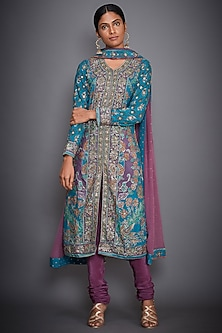 Turquoise & Mauve Embroidered Kurta Set by Ri Ritu Kumar