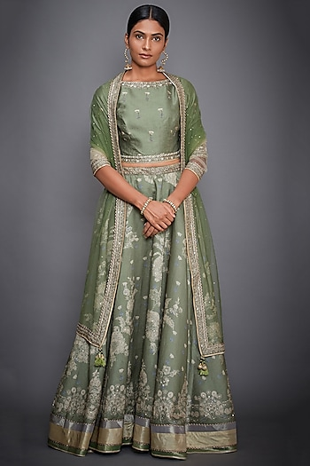 Olive Green Embroidered Lehenga Set by Ri Ritu Kumar