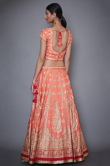 Coral Embroidered Lehenga Set by Ri Ritu Kumar