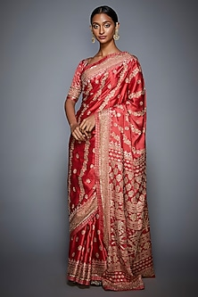 Coral & Beige Embroidered Saree Set by Ri Ritu Kumar