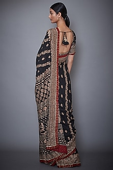 Black & Burgundy Embroidered Saree Set by Ri Ritu Kumar