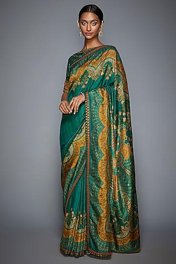 Emerald Green & Mustard Embroidered Saree Set by Ri Ritu Kumar
