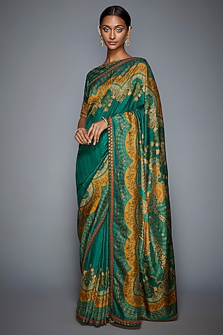 Emerald Green & Mustard Embroidered Saree Set by Ri Ritu Kumar
