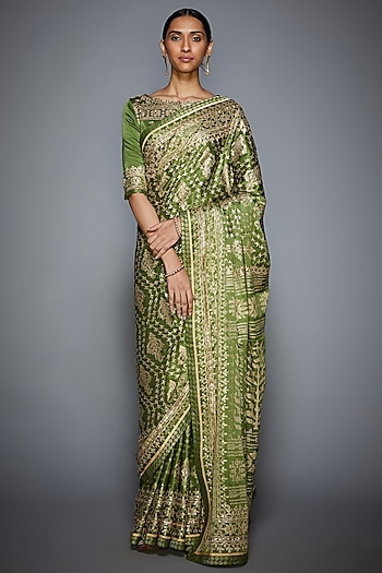 Khaki Green & Beige Embroidered Saree Set by Ri Ritu Kumar