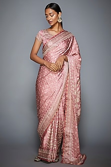 Pastel Pink & Ecru Embroidered Saree Set by Ri Ritu Kumar
