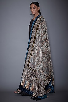 Grey & Black Embroidered Shawl by Ri Ritu Kumar