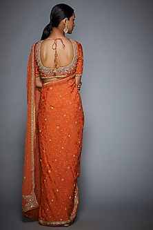 Orange Embroidered Saree Set by Ri Ritu Kumar