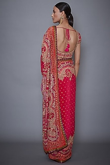 Red & Fuchsia Embroidered Saree Set by Ri Ritu Kumar