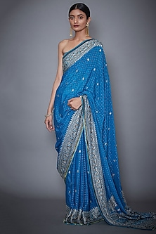 Turquoise & Navy Embroidered Saree Set by Ri Ritu Kumar