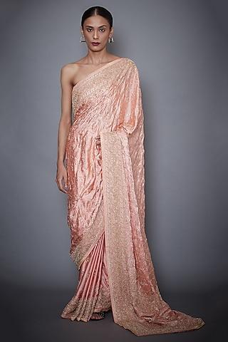 Peach Embroidered Silk Saree Set by Ri Ritu Kumar