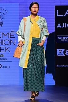 Mango Green Pleated Schiffli Maxi Skirt by RARA AVIS