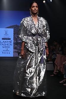 Silver Liquid Metal Dress by Rara Avis