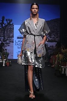 Grey Embroidered Sleeveless Jacket by Rara Avis