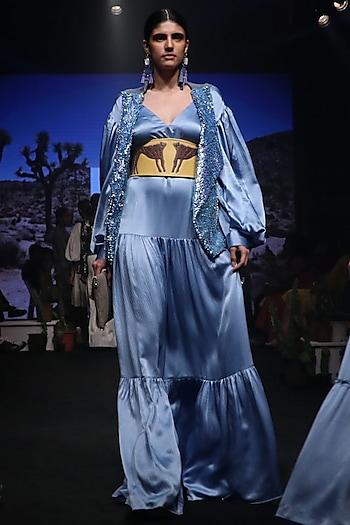 Cornflower Blue Tiered Maxi Dress by Rara Avis