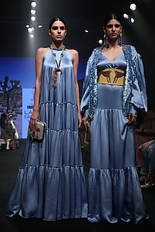 Cornflower Blue Pleated Maxi Dress by Rara Avis