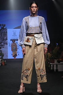 Yellow Embroidered Pleated Trousers by Rara Avis