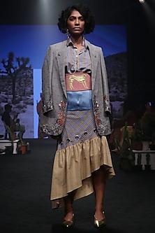 Cornflower Blue and Yellow A-Line Skirt by Rara Avis