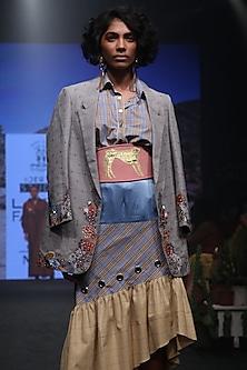 Grey Checks Embroidered Blazer by Rara Avis