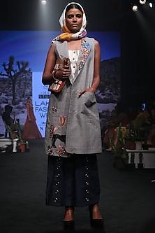 Grey Checks Embroidered Long Jacket by Rara Avis