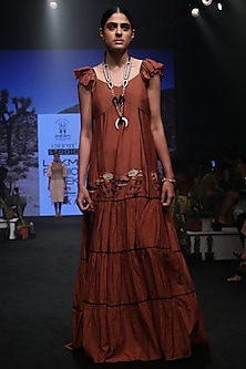 Rust Embroidered Ruffled Maxi Dress by Rara Avis