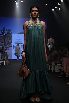 Jungle Green Pleated Tiered Dress by Rara Avis