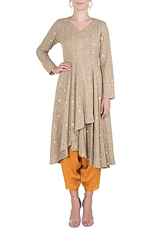 Olive embroidered tunic with dhoti pants by Rriso-SHOP BY STYLE