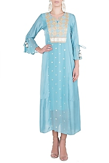 Aqua embroidered dress with slip by Rriso