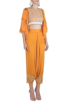 Orange Embroidered Crop Top And Pants by Rriso
