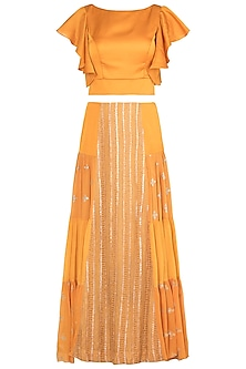Orange embroidered lehenga set by Rriso