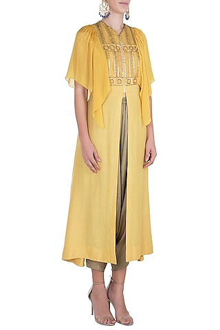 Yellow embroidered tunic with dhoti pants by Rriso