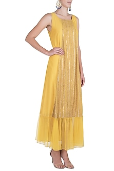 Yellow embroidered dress with slip by Rriso-BEST SELLERS