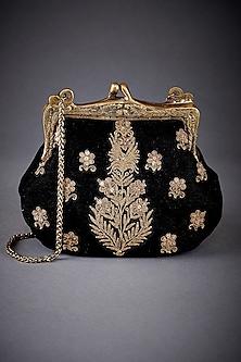 Black Embroidered Sling Clutch by Ri Ritu Kumar